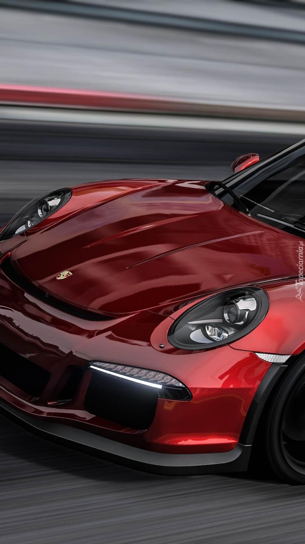 Przód czerwonego Porsche