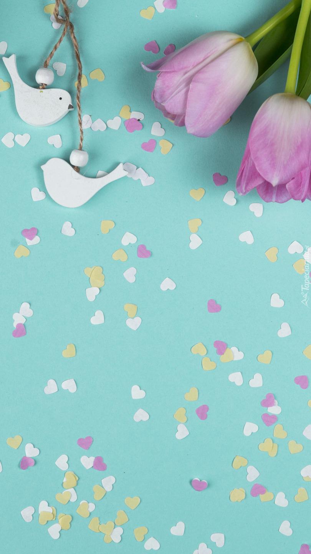 Ptaszki zawieszki i tulipany