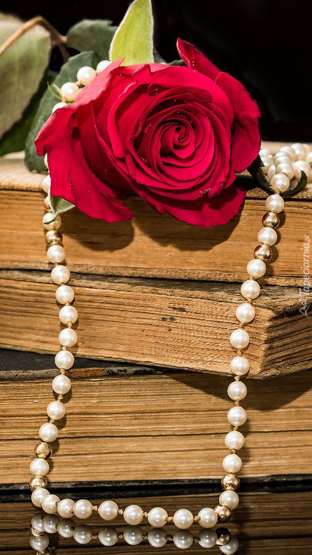 Róża i perły na starych książkach