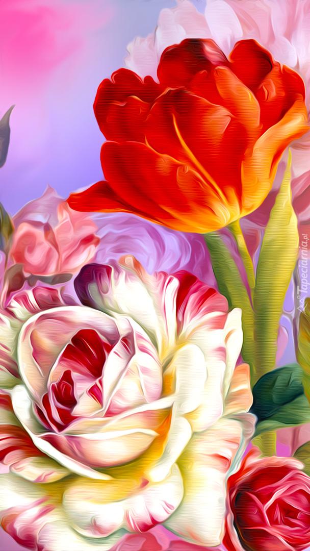 Róża i tulipan w grafice