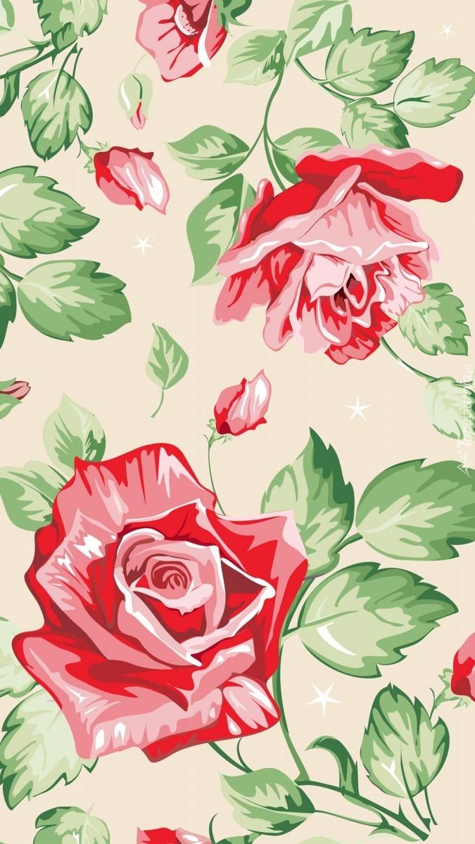 Różana tekstura z listkami