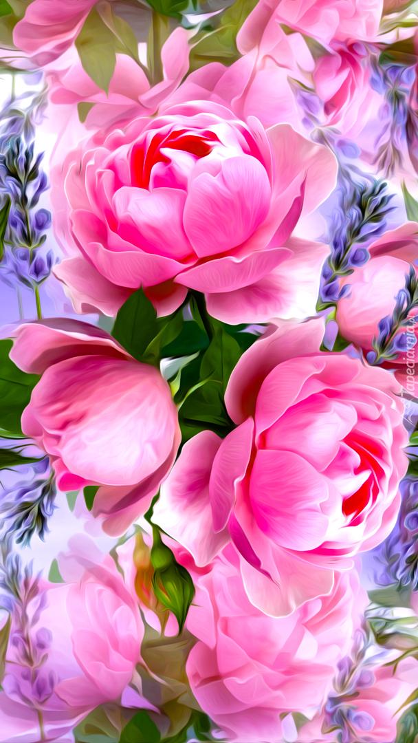 Róże i gałązki lawendy