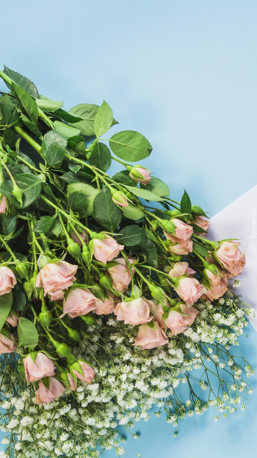 Róże i gipsówka w bukiecie