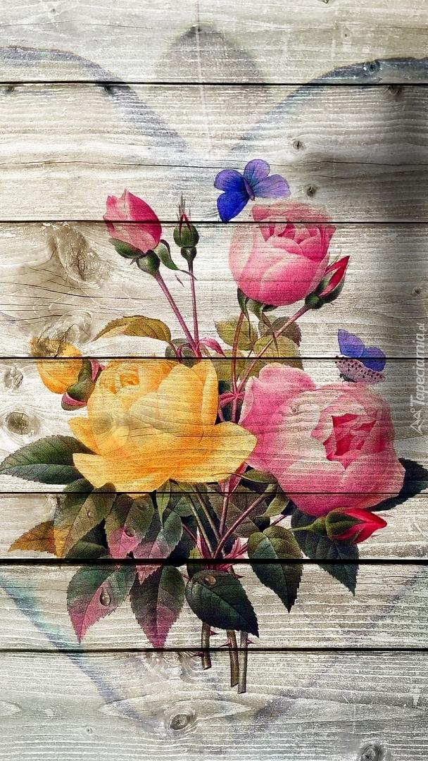 Róże w sercu na deskach