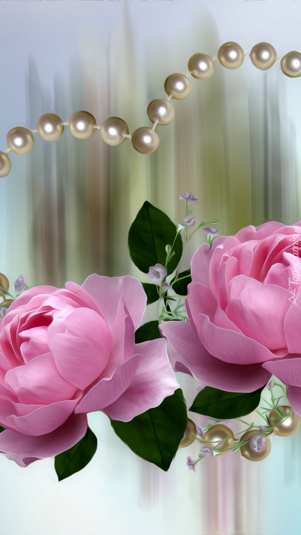 Róże w sercu z perełek