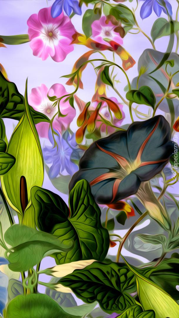 Różne kolorowe kwiaty w grafice
