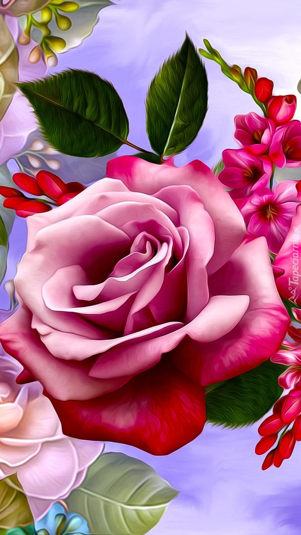 Różowa graficzna róża