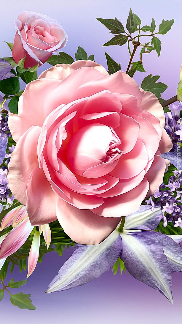 Różowe róże w grafice