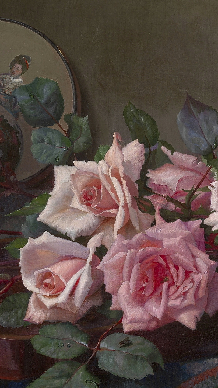 Różowe róże w malarstwie