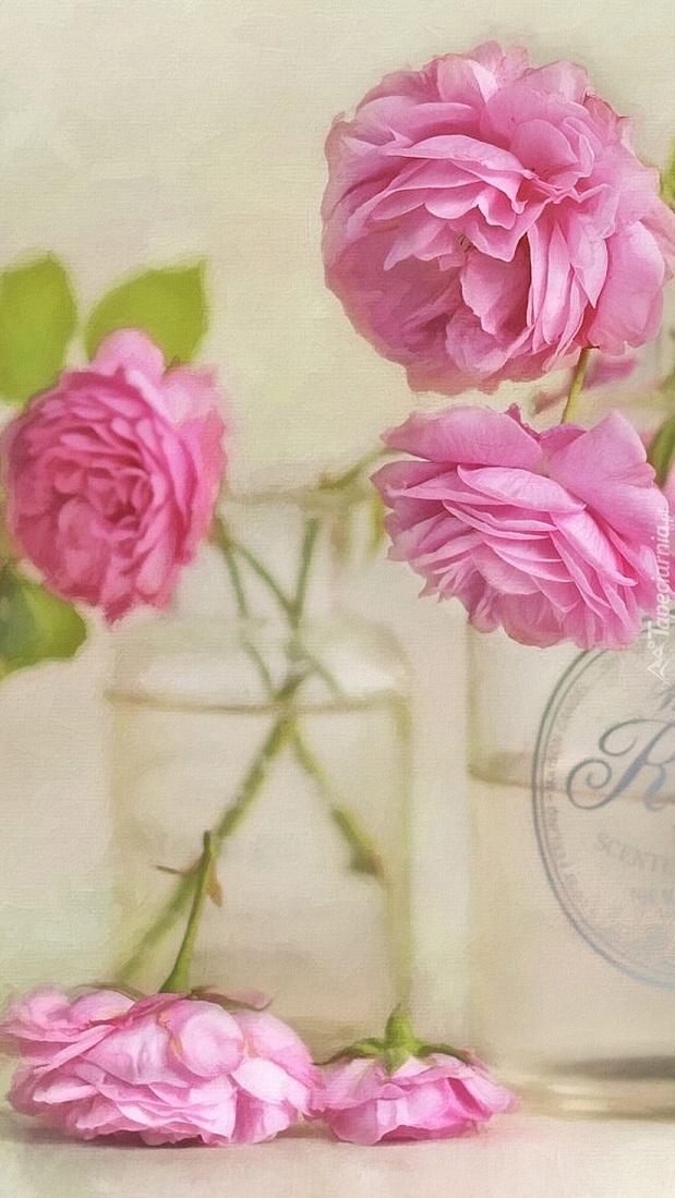 Różowe róże w szklanych naczyniach