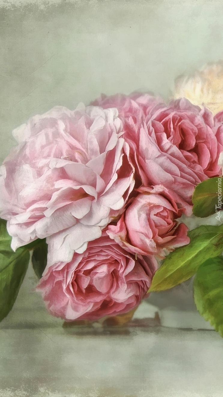Różowe rozwinięte róże