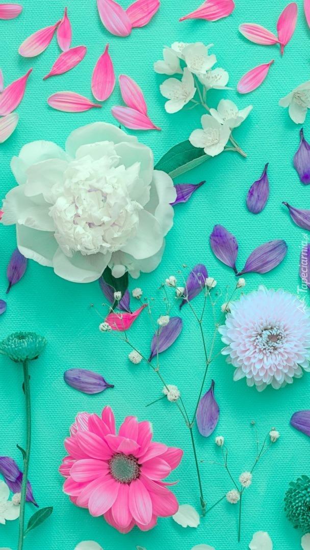 Rozrzucone kwiaty i płatki