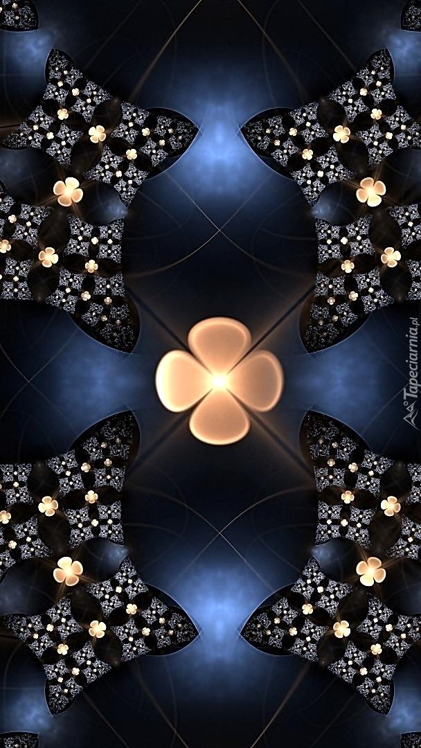 Rozświetlone kwiaty we fraktalu