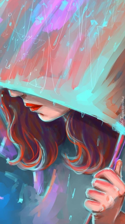Rudowłosa dziewczyna pod parasolem