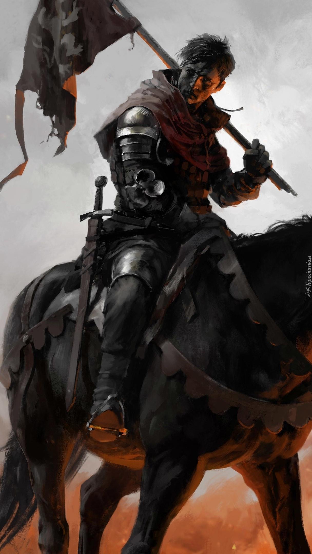 Rycerz na czarnym koniu z flagą