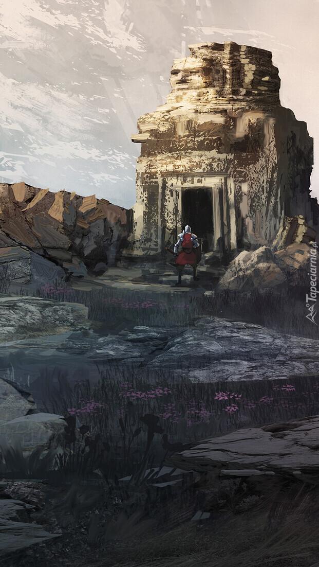 Rycerz przy skalnej budowli