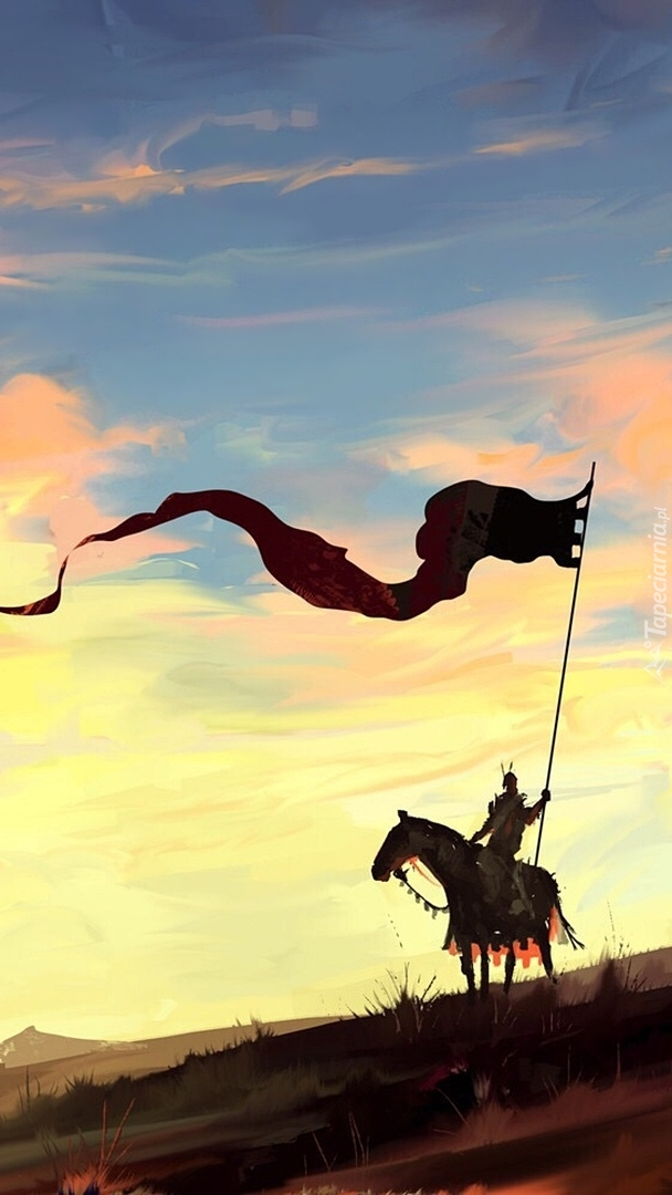 Rycerz z chorągwią na koniu