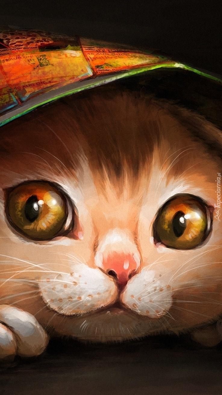 Rysunek kota  z wielkimi oczami