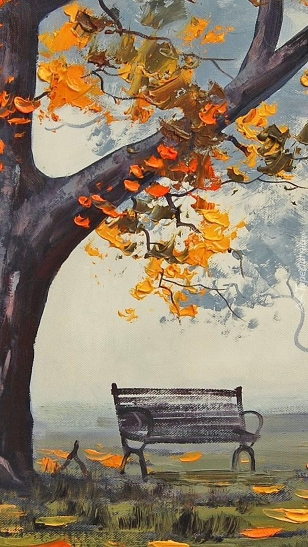 Rysunek ławki obok jesiennego drzewa