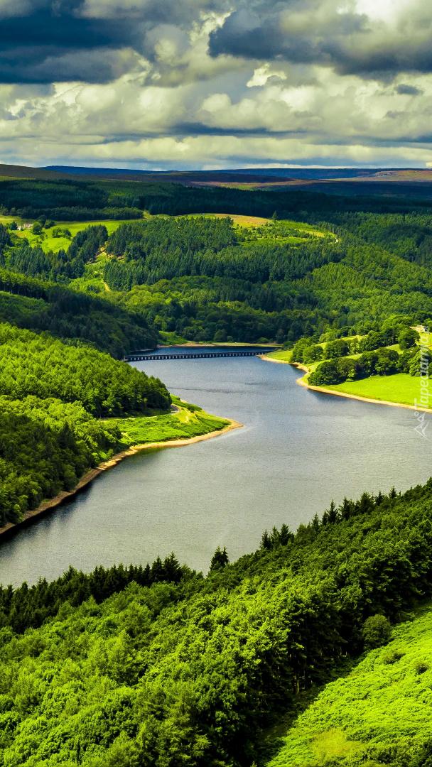 Rzeka i pola na zielonych wzgórzach