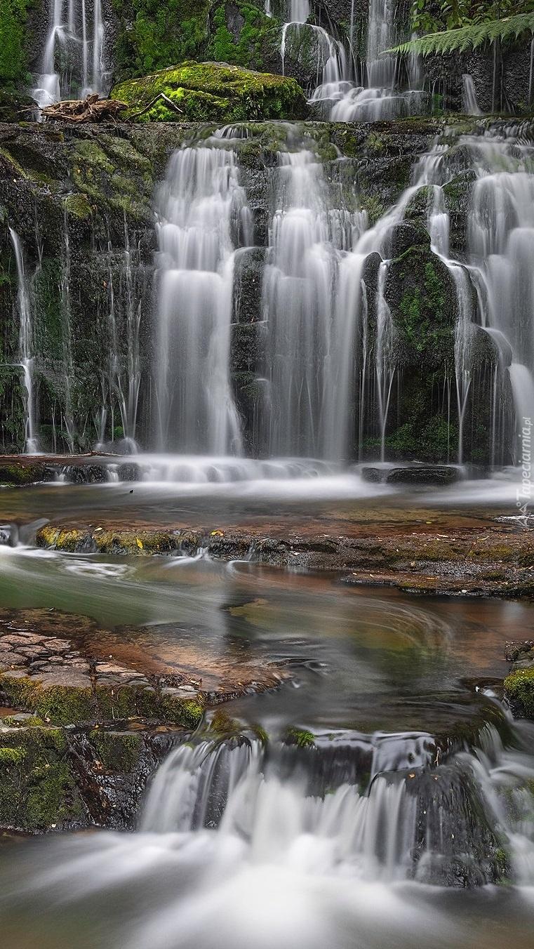 Rzeka i wodospad Purakaunui
