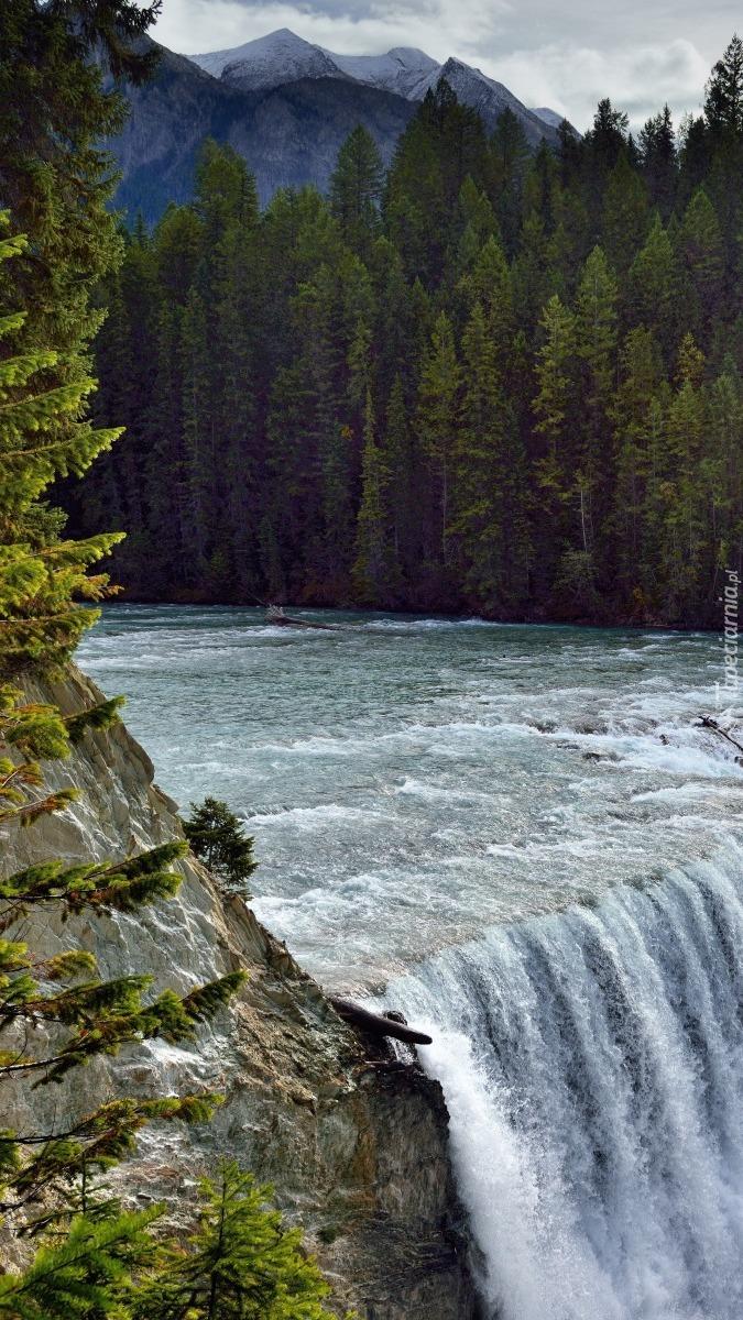 Rzeka Kicking Horse z wodospadem