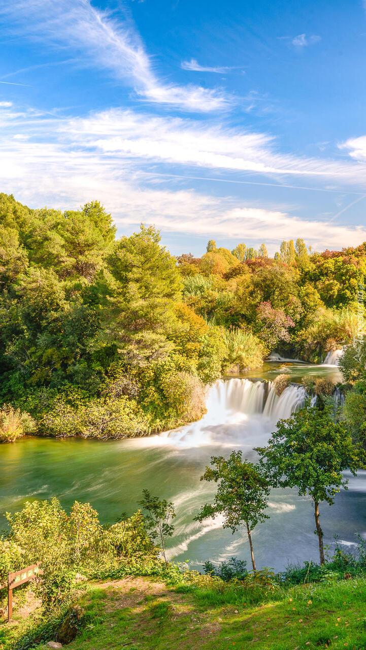 Rzeka Krka z wodospadem