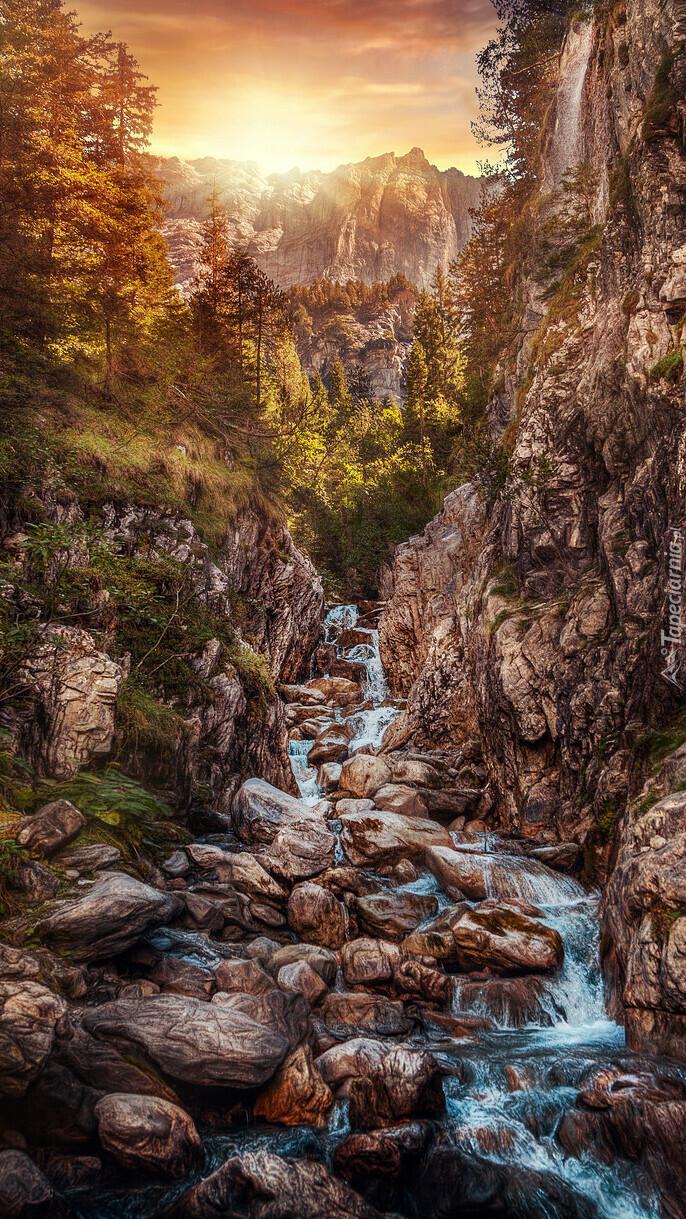 Rzeka w skalistym wąwozie Rosenlaui