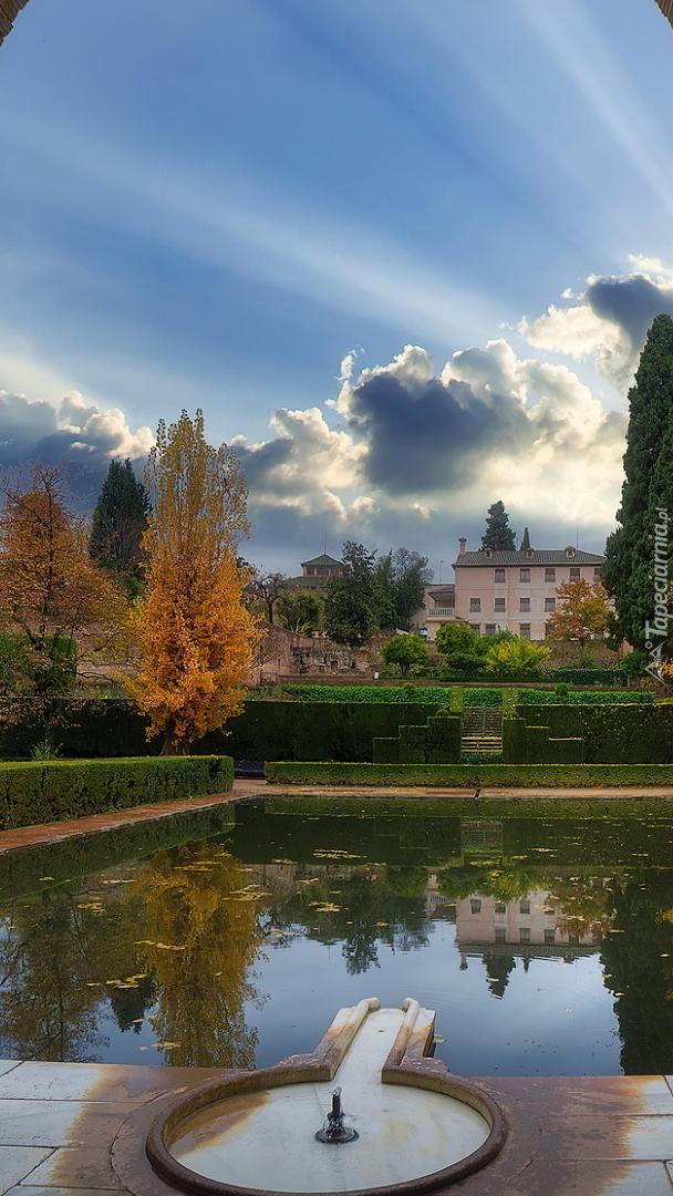 Sadzawka w ogrodzie Pałacu Partal