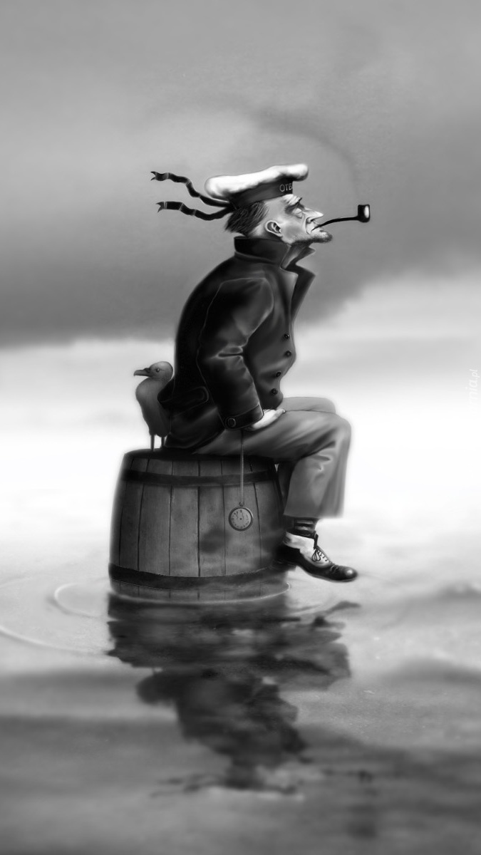 Samotny marynarz na beczce