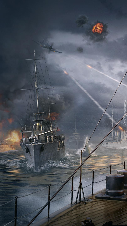 Scena bitwy z gry World of Warships
