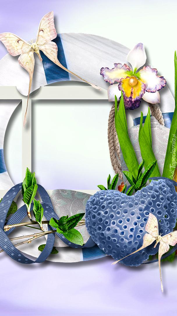 Serce i kwiaty na ramce w grafice