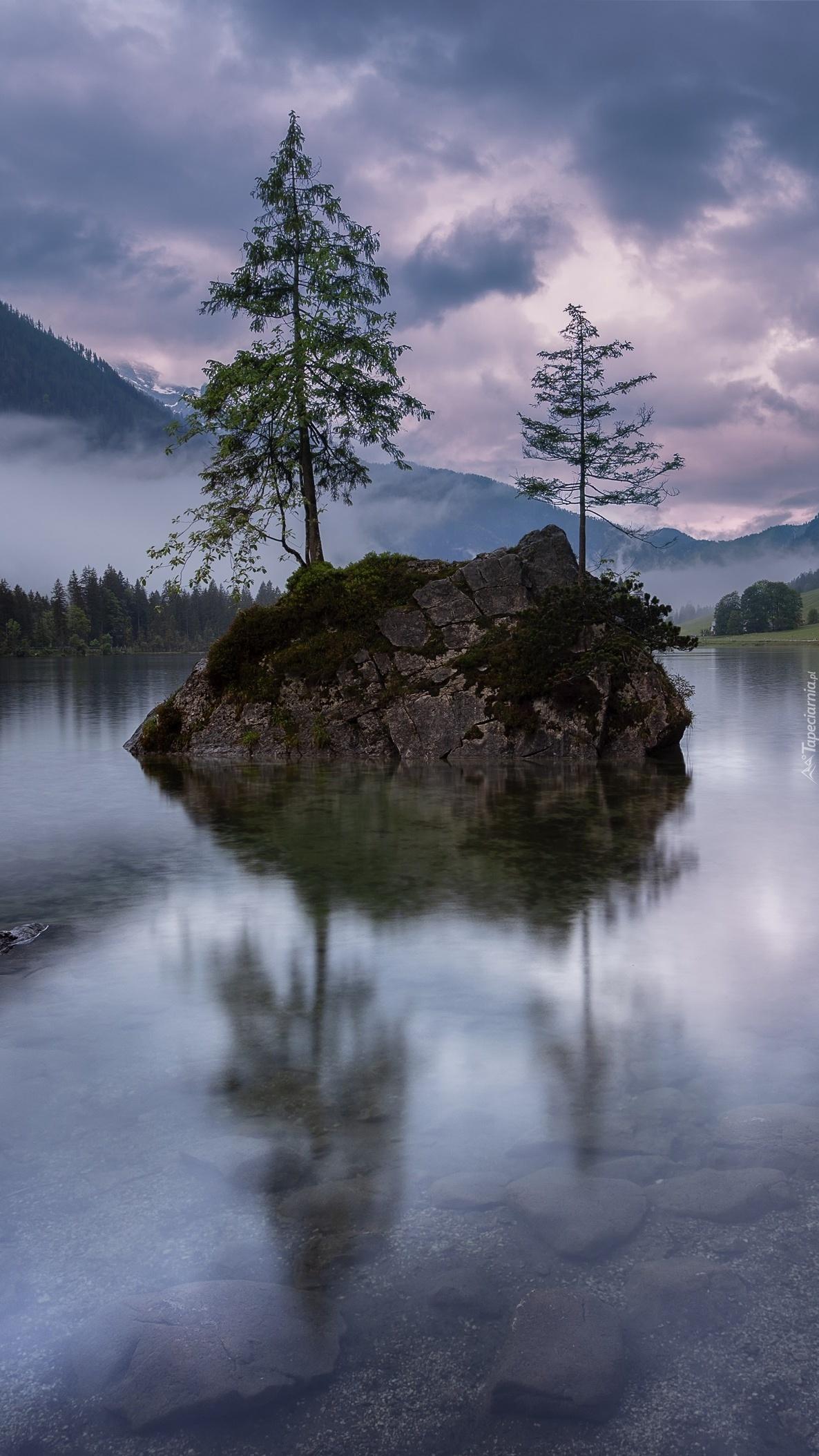 Skała z drzewami nad jeziorem Hintersee