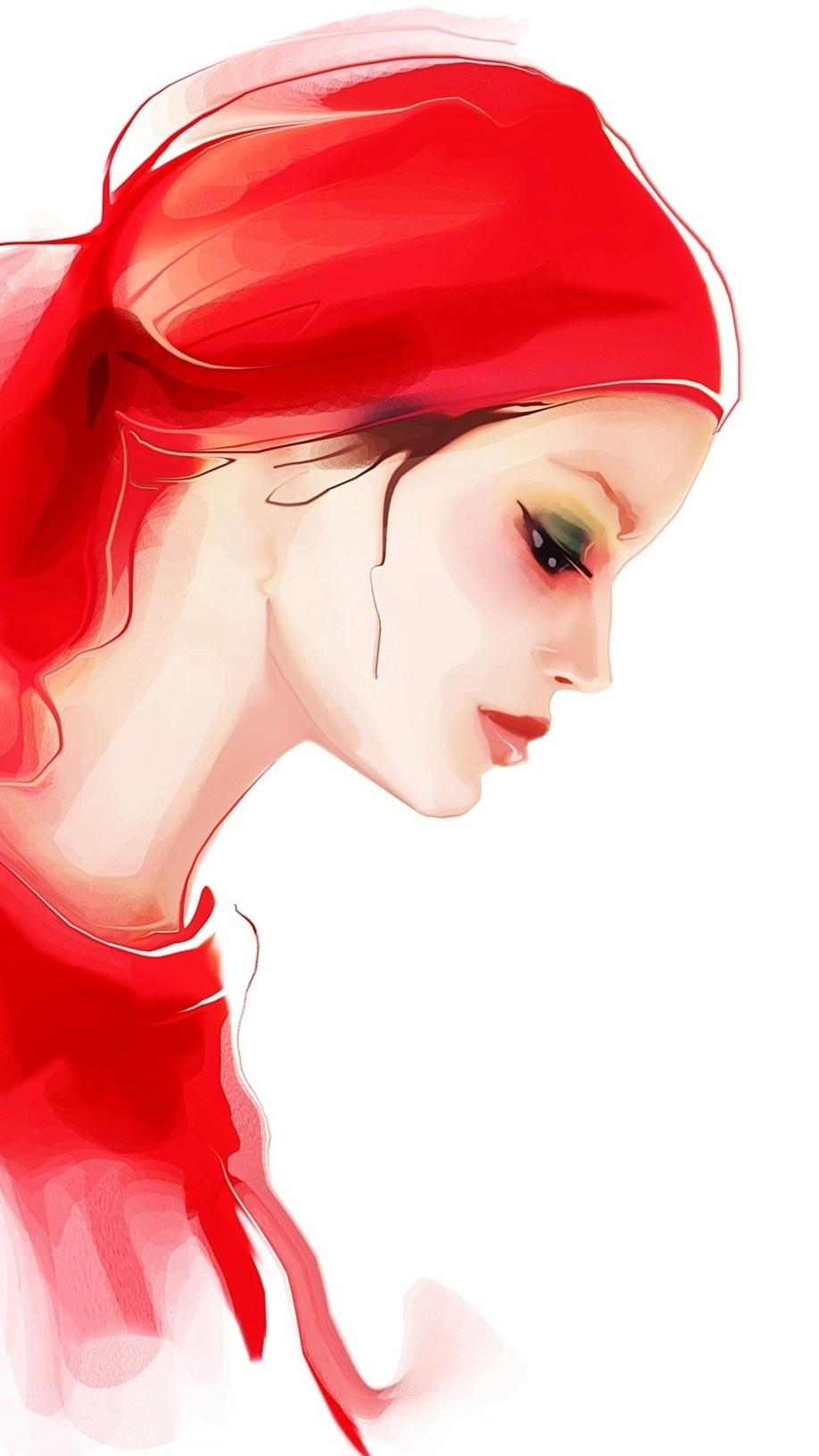 Smutna dziewczyna w czerwieni