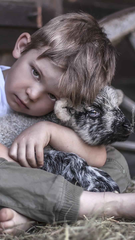 Smutny chłopiec z owieczką