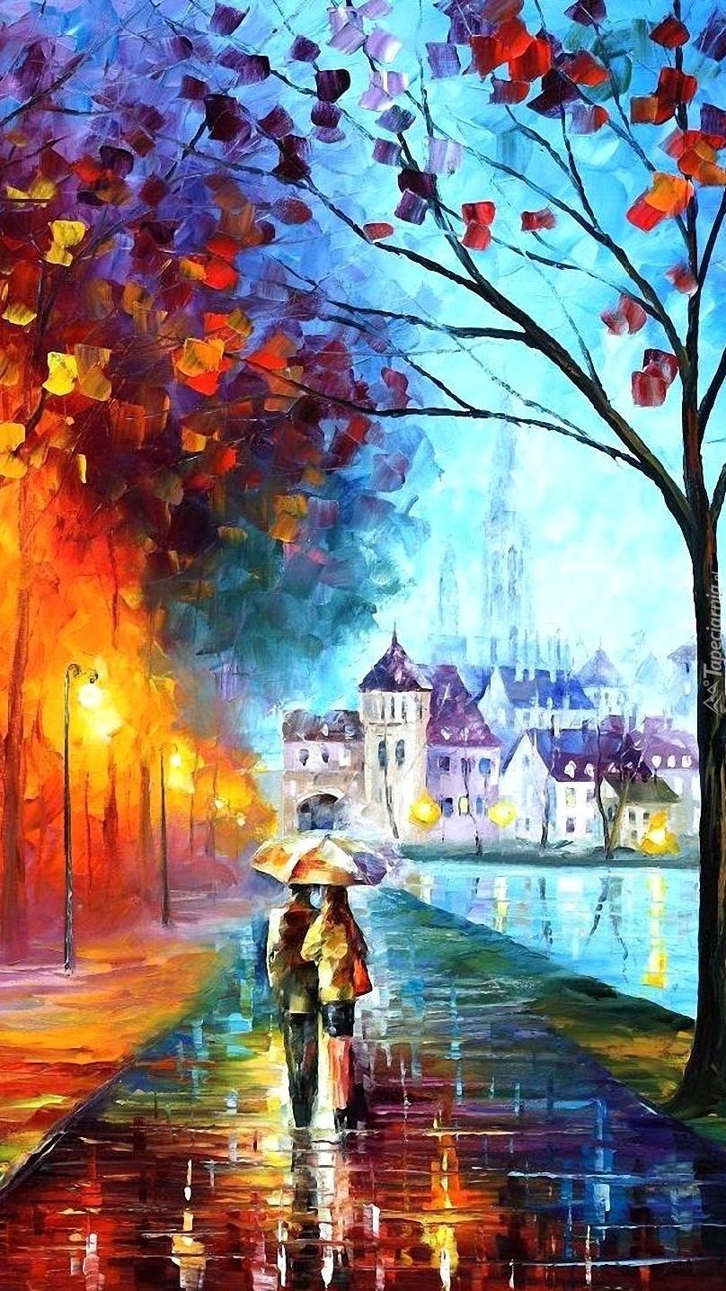 Spacer deszczową porą