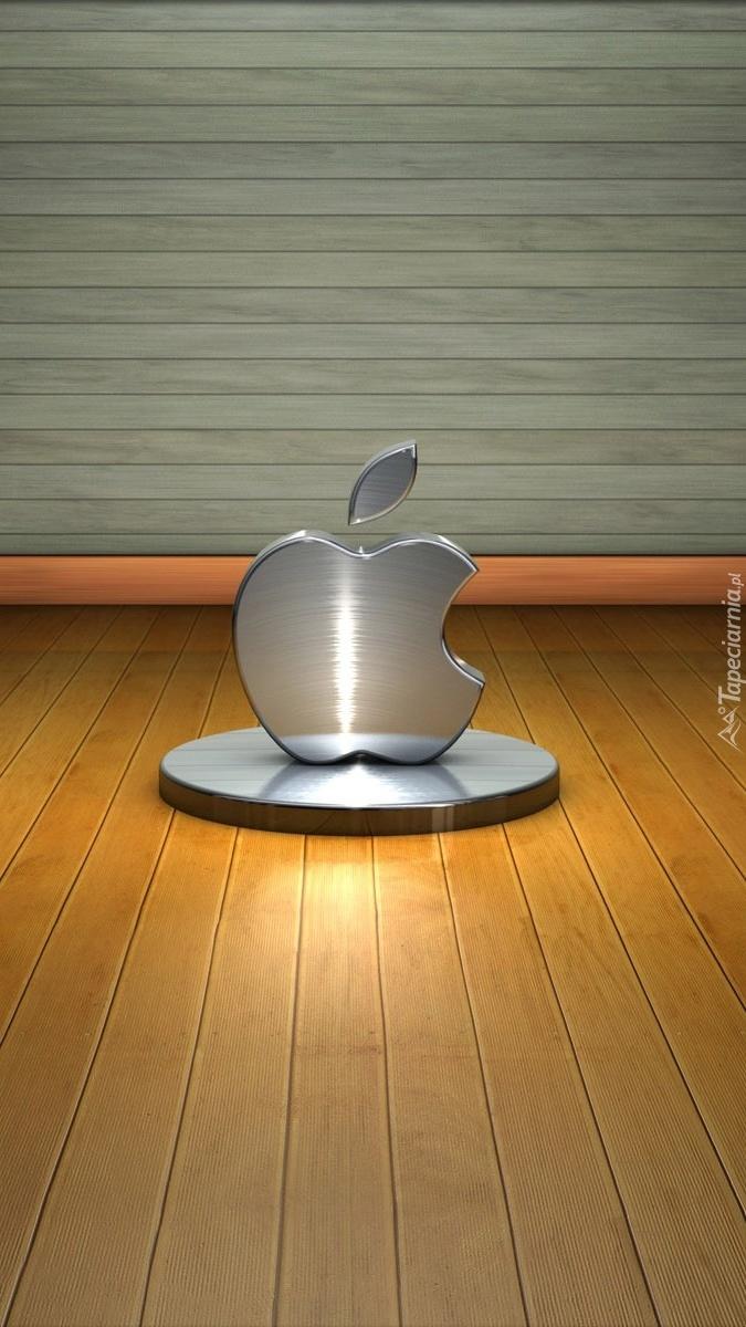 Srebne logo Apple na podstawce
