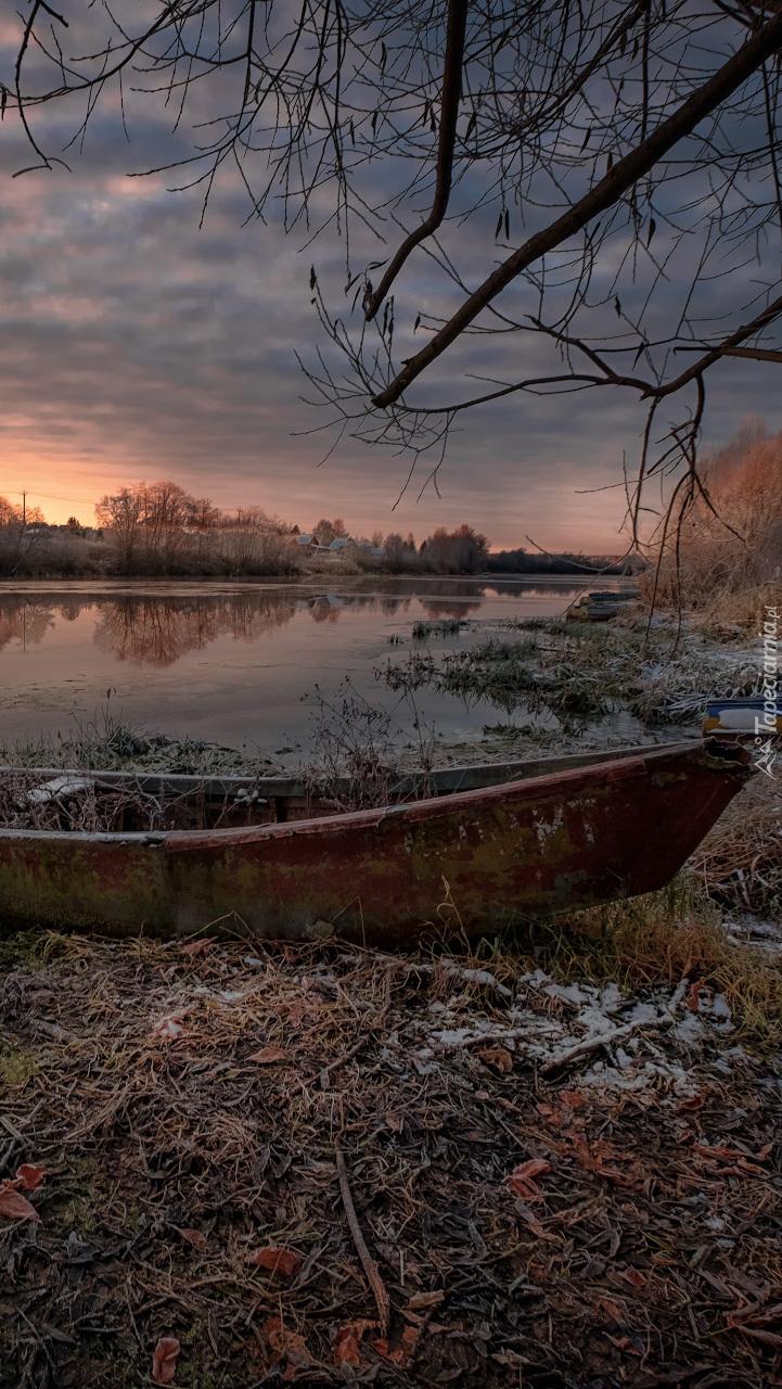 Stara łódka na brzegu rzeki Dubna