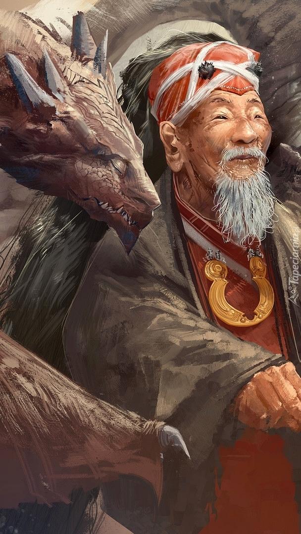 Staruszek i głowa smoka