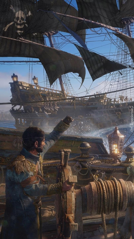 Statki pirackie na morzu