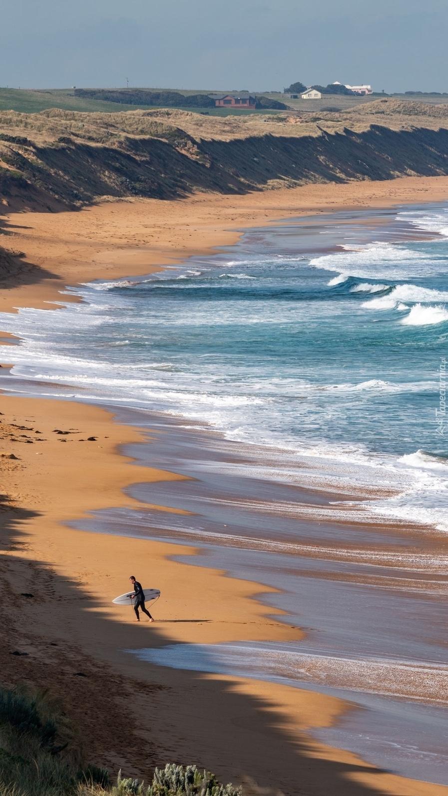 Surfer nad brzegiem morza