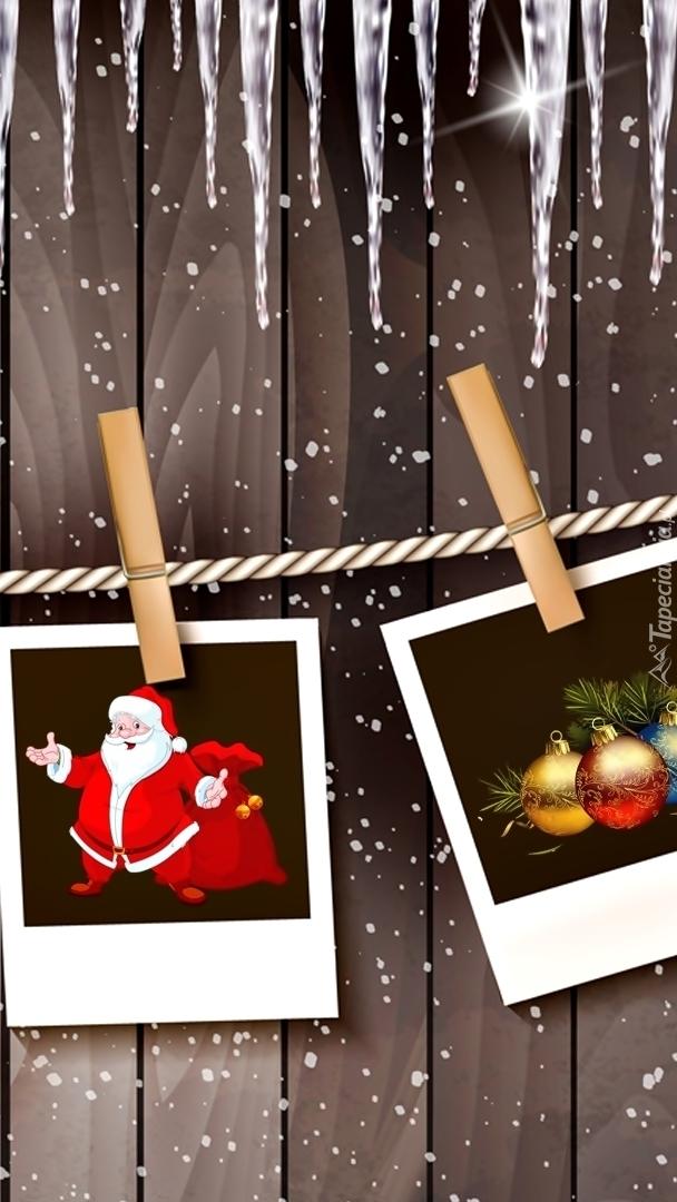 Świąteczne fotografie przypięte klamerkami