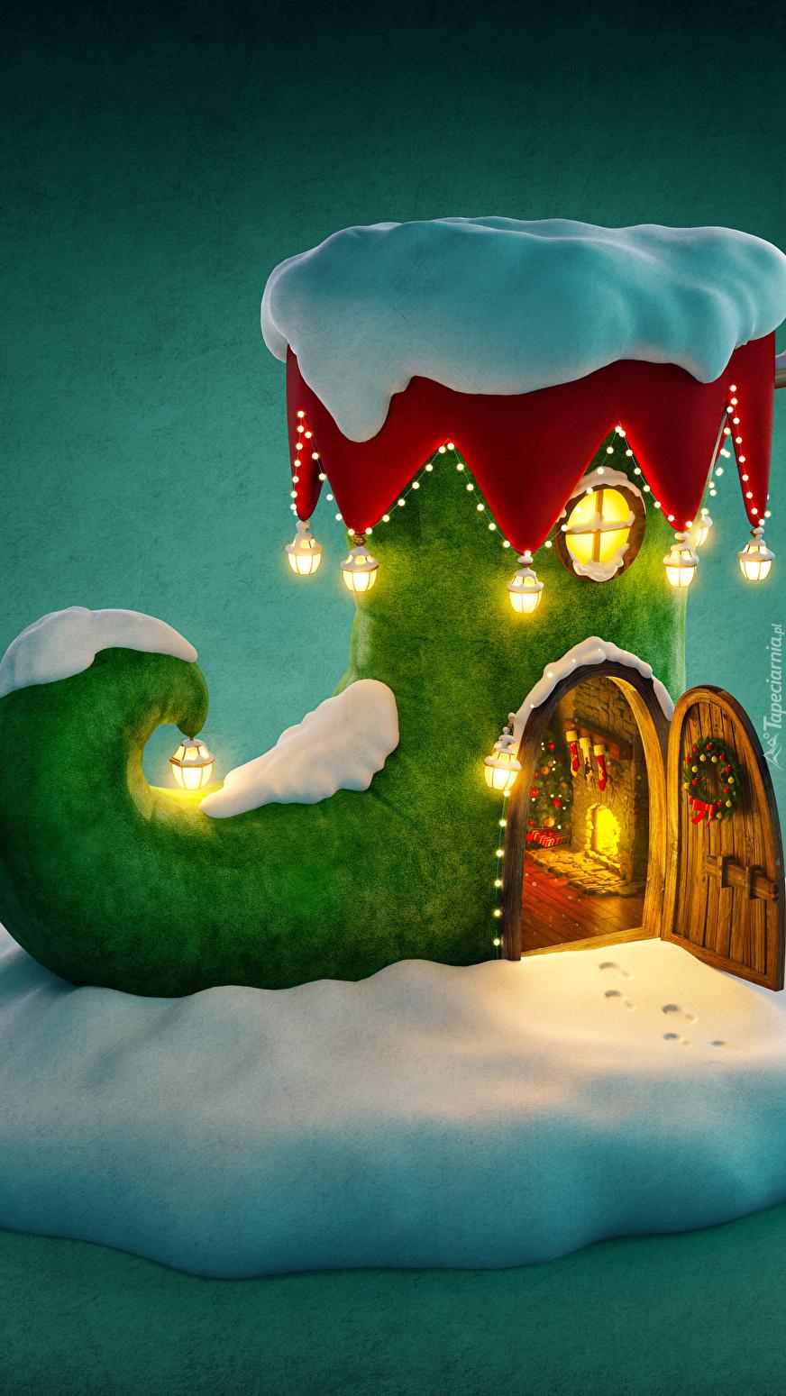 świąteczny Domek W Bajkowym Bucie Tapeta Na Telefon