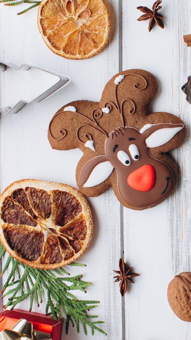 Świąteczny pierniczek i plasterki pomarańczy