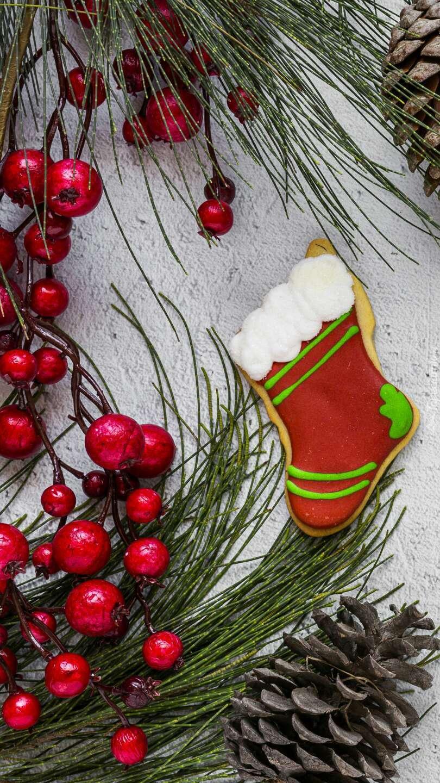 Świąteczny pierniczek obok gałązek