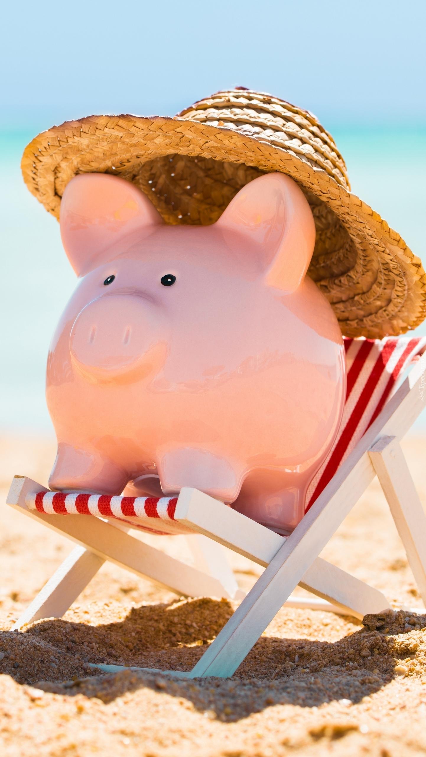 Świnka skarbonka w kapeluszu na leżaku