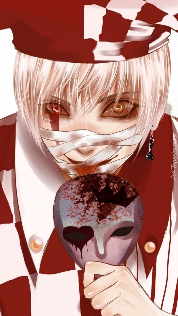 Szalony klaun z maską
