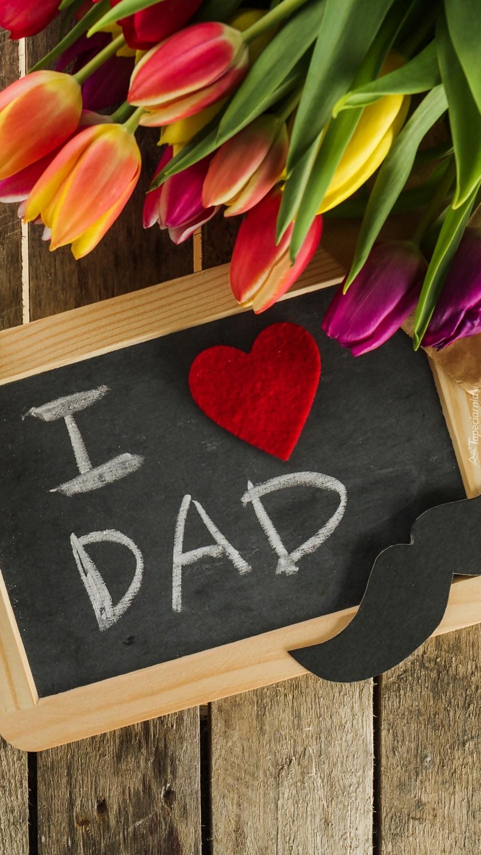Tabliczka z tulipanami dla taty