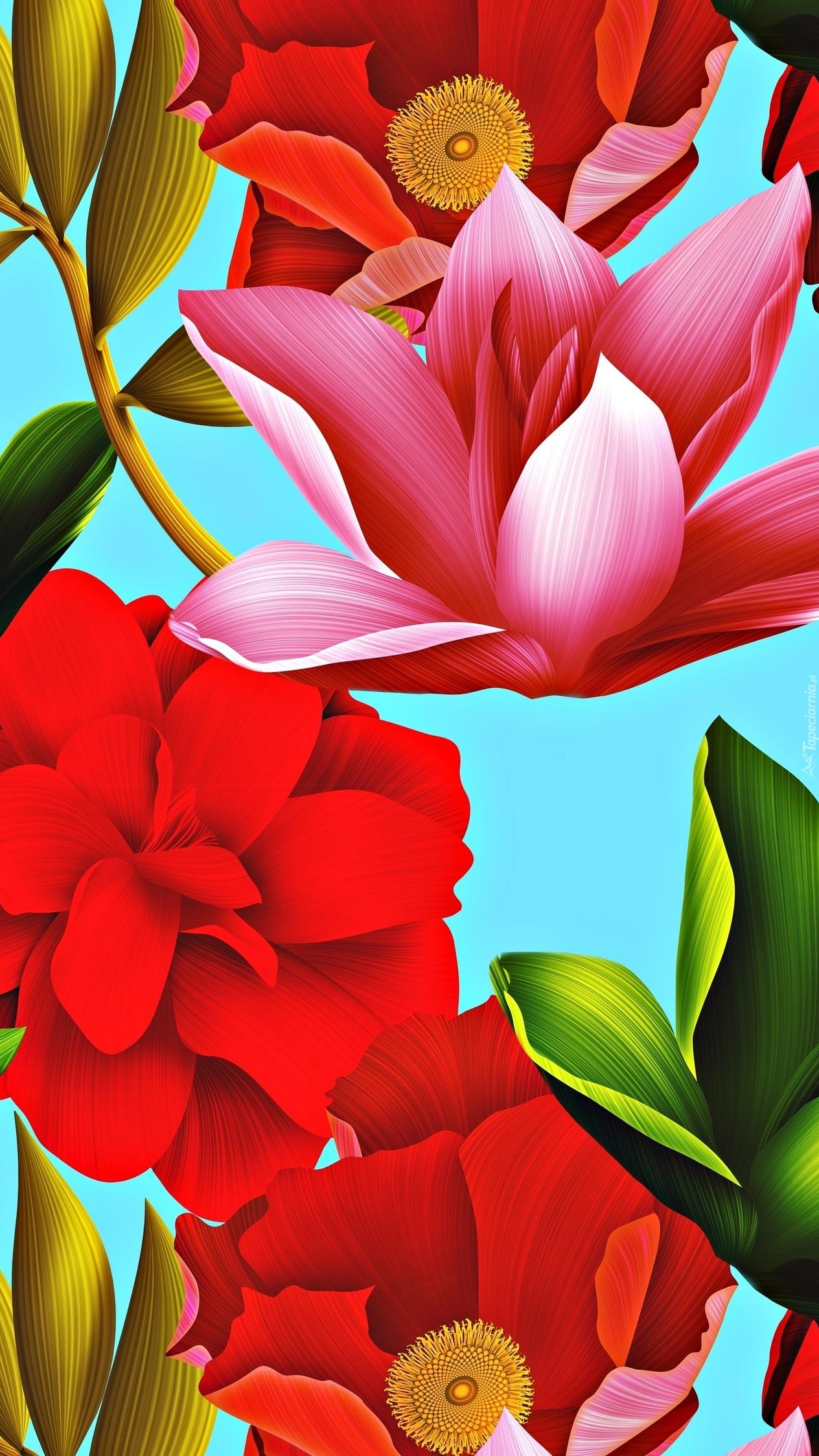 Tekstura w kolorowe kwiaty