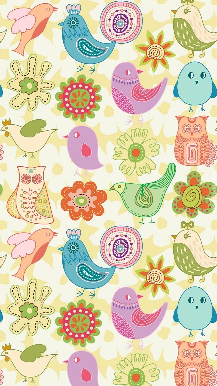 Tekstura w kolorowe ptaszki i kwiatki